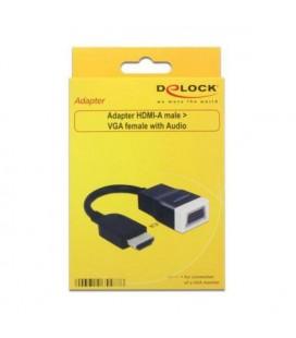 Adaptateur HDMI vers VGA avec Audio DELOCK 65587 15 cm Blanc Noir