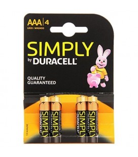 Piles Alcalines DURACELL Simply DURSIMLR3P4B LR03 AAA 1.5V (4 pcs)