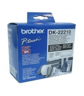 Papier Continu pour Imprimantes Brother DK22210 29 x 30,48 mm Blanc
