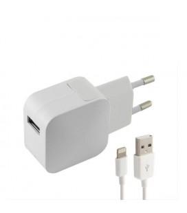 Chargeur Mural + Câble Lightning MFI KSIX USB 1 m 100-240 V 5 V 2,4 A Blanc