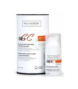 Crème Solaire Anti-Tâches Cc Protect Bella Aurora SPF 50 (30 ml)